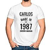 Regalo Personalizado para Hombres: Camiseta 'Made in' Personalizada con su Nombre y año de Nacimiento (Blanco)