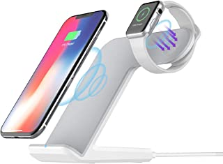 Wireless Charger Stand Compatible with Apple Watch 4/3/2/1, Fast Wireless Charging Station Dock add QC3.0 Adapter for iPhone Xs/XR/XS Max/X/8/8 Plus,Galaxy S9/S8/S7/Note 8 and All Qi-Enabled Phones