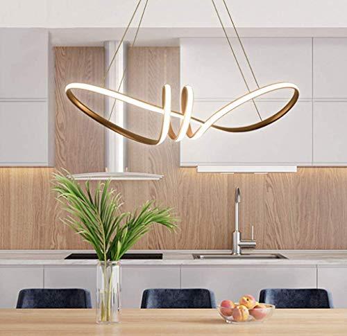 AXFALO Lámpara de techo LED de 70 W para comedor, regulable, con mando a distancia, creativa, curvada, altura regulable, color dorado, aluminio, 72 cm, iluminación interior decorativa