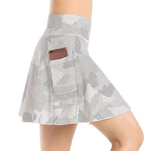 Damen-Sport-Tennis-Skort mit Innenhose (Farbe: Silber, Größe: S)