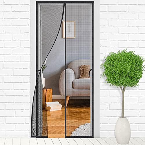 Magnetic Screen Door Mesh Net: 39 X 83 inches Black Heavy Duty Self Closing Screens Curtain Doors Full Frame Closure with Magnet for Front Door Patio Garage Balcony Porch - Pet Dog Kids Baby Friendly