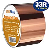 Copper Foil Tape (2inch X 33 FT) with Conductive Adhesive for Guitar and EMI Shielding, Slug...