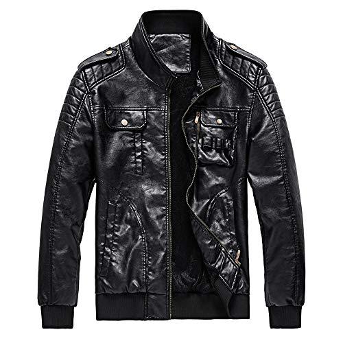 ZXYU Chaqueta de cuero para hombre, motocicleta, piel, para hombre, otoño e invierno, estilo retro, entallado, casual, chaqueta de cuero, para hombre, chaqueta de bombardero de piel sintética