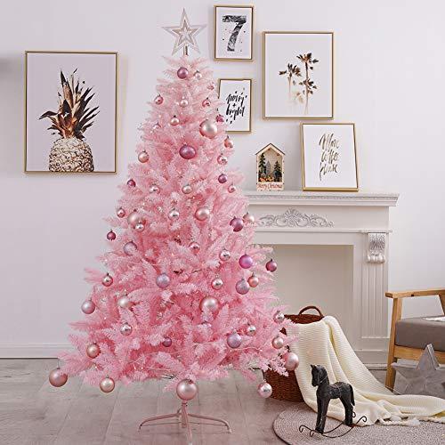 WZR Rosa Künstlicher Weihnachtsbaum,240cm Fichte Baum Mit Solide Metallständer & LED &Ornamente Weihnachtsdeko Indoor Partei-rosa 240cm