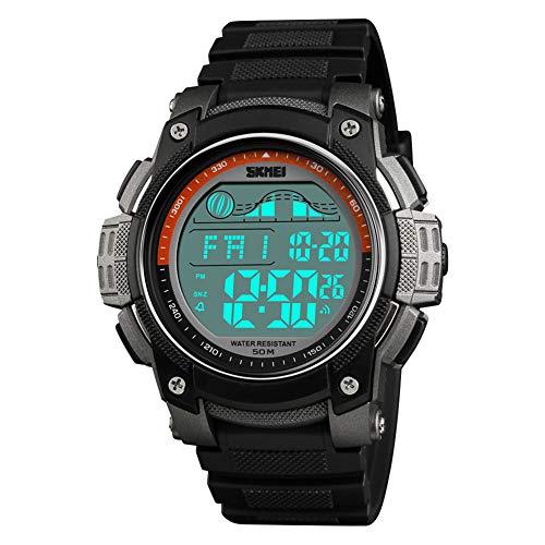 YK WATCH Fashion Dual Time Orologio elettronico Men ' s cronometro Conto alla rovescia Impermeabile Luminous Trend Studente Orologio,Gray
