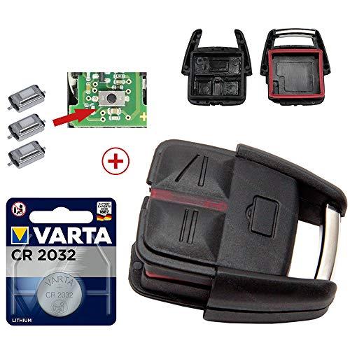 Repair Reparatur Satz Auto Schlüssel Austausch Gehäuse mit 3 Tasten + Drucktaster + Batterie kompatibel für Opel Vectra C Signum