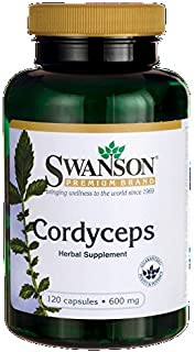 Swanson Premium Cordyceps 600 mg -- 2 Bottles each of 120 Capsules Made in USA