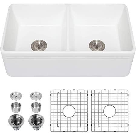 Luxury 33 X 20 Inch Modern Farmhouse Ultra Fine Fireclay Kitchen Sink In White 50 50 Double Bowl Reversible By Barkano Amazon Com