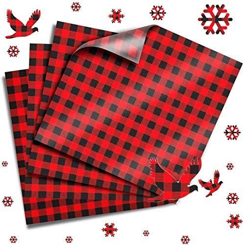 Buffalo Plaid Heat Transfer Vinyl Rquite Printed Christmas Red Black Vinyl Sheets Adhesive Cloth product image