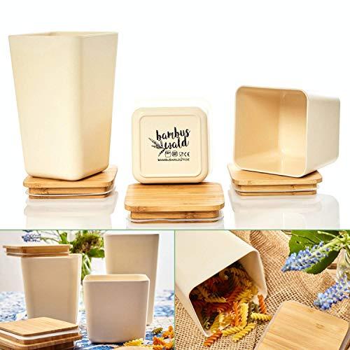 bambuswald© 3 Stück : ökologische Vorratsbehälter mit luftdichten Deckel | Aufbewahrungsbox in 3x Größen in einem Set (1,4L | 1,1L | 0,9L) - Küchendosen Aufbewahrungsdose Vorratsgläser Vorratsdosen