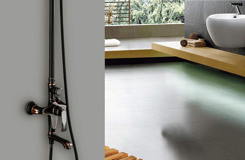GWFVA Badezimmer-Brausebatteriesatz, Brausegarnitur, schwarz, Kupfer, Handbrause, amerikanisch, mit Aufzug montiert, Warm- und Kaltwasserhahn, Badezimmerdusche