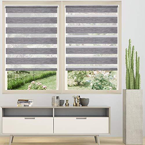 Loochoo Doppelrollo Klemmfix Duo Rollo ohne Bohren Rollos für Fenster Marmor Grau 80x150cm Seitenzugrollo mit Klemmträger Fensterrollo Transparent & Blickdicht Kettenzugrollo