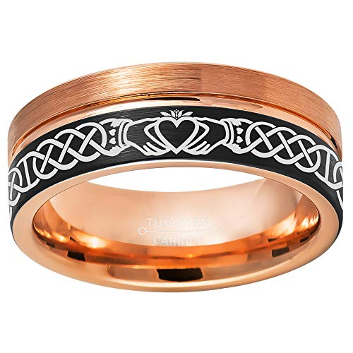 Jewelry Avalanche Celtic Claddagh Tungsten Ring - 2-Tone Black IP & Rose Gold Pipe Cut Tungsten Carbide Wedding Band - Comfort Fit Anniversary Ring - #867s10