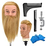 Neverland Beauty Male Mannequin Head With Beard 14 Inch 100% Human Hair Man Training Hairdressing Manikin Doll Head for Cosmetology with Table Clamp