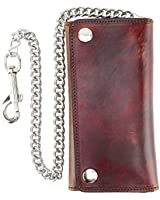 RFID Blocking Men's Tri-fold Vintage Long Style Cowhide Top Grain Leather with Steel Chain card holder Wallet,Snap closure, Made In USA,G-ab339,Antique-brown