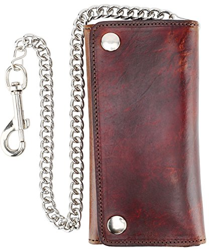Men's Tri-fold Vintage Long Style Cow Top Grain Leather Steel Chain Wallet,Made In USA,Snap closure,ab339,Antique-brown