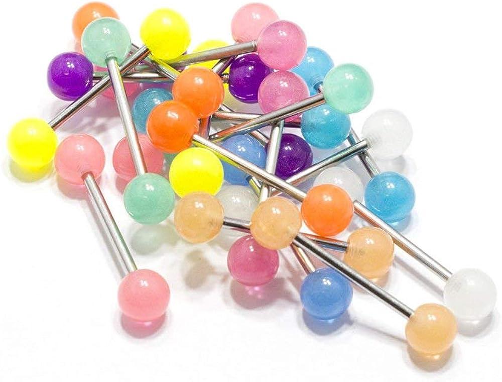 BodyJewelryOnline Glow in The Dark, Clear Acrylic Ball, Surgical Steel Nipple Rings Piercing Jewelry Nipple/Tongue Barbell Retainer, Length- 16mm (5/8), Gauge- 14G, Pack of 20