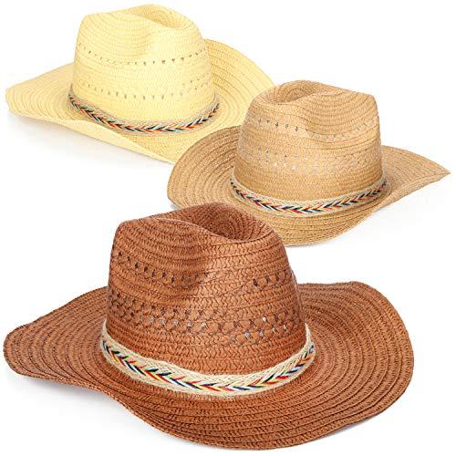 Wilhelm Sell® 3x strohoed, bruine Panama zonnehoeden, fedora/trilby hoed met gekleurd lint, unisex, voor dames en heren [selectie varieert]