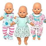 Miunana 3 Ropas Vestidos Fashion para 14 - 16 Pulgada (36CM - 42CM) Muñecos Bebé Baby Dolls (NO Incluye MUÑECA)