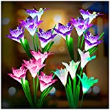 Outdoor Solar Lights, KOOPER 4 Pack Solar Garden Lights with 16 Bigger Lily Flowers, Waterproof 7 Color Changing Outdoor Lights - Bigger Solar Panel for Garden Patio Yard Pathway Decoration