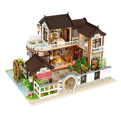 Flever Dollhouse Miniature DIY House Kit Creative Room with Furniture for Romantic Artwork Gift-Dream Back to Ancient Town