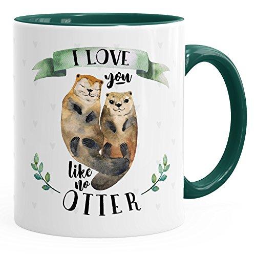 MoonWorks Kaffee-Tasse Otter Pärchen I Love You Like no Otter Geschenk Liebe Spruch Teetasse Keramiktasse grün-grün Unisize