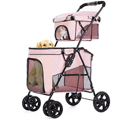 Umora 二重層ペットベビーカー ペットカート 犬用ベビーカー 折りたたみ 前輪360°回転 犬猫共用 多頭用 ピンク