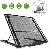 GRJKZYAM Soporte de Portátil Ergonomic Ventilado Acero Inoxidable Adjustable Laptop Stand para Macbook DELL XPS HP Negro