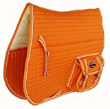 CHALLENGER Horse Quilted English Saddle PAD Pockets Half Fur Padded Australian 7274