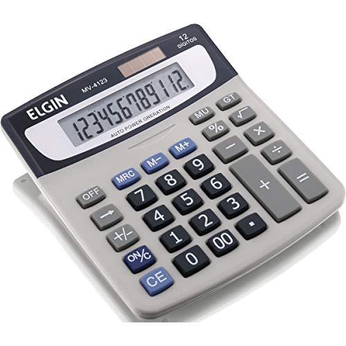 Calculadora Elgin com 12 dígitos e visor inclinado MV-4123 Função Markup, Elgin, 42MV41230000, Cinza