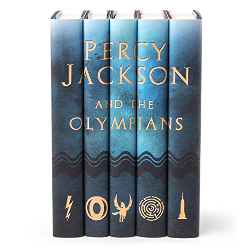 Juniper Books Percy Jackson and The Olympians   Five-Volume Hardcover Book Set with Custom Designed Dust Jackets   Author Rick Riordan