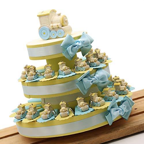 Torta Bomboniere Battesimo Magico Trenino per Bimbo Confettata 35 Bomboniere (TR1112P)