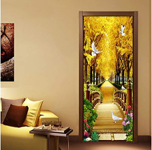 Door stickers door decals, Photo Wallpaper 3D Golden Forest Nature Landscape Murals Waterproof Living Room Door Sticker Modern Self-Adhesive Wall Paper