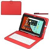 Navitech Rotes bycast Leder Stand mit deutschem Qwertz Keyboard mit Micro USB für das SurfTab Breeze 10.1 Quad/Xiron/Ventos