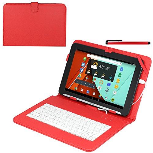 Navitech Rot bycast Leder Stand mit deutschem QWERTZ Keyboard mit Micro USB für das Archos 101 Magnus/Archos 101 Magnus Plus