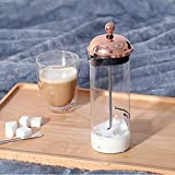 DWGYQ Vaporizador de Leche Casa Taza de espumador de Leche con Vidrio borosilicato y diseño de filtros metálicos Adecuado para Latte/Cappuccino/Hot Chocolate (150Ml)