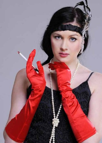 Struts Fancy Dress Mesdames 20 s Flapper longs gants de Satin rouges