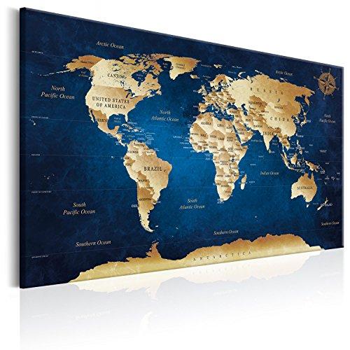 murando Weltkarte Pinnwand & Vlies Leinwand Bild 120x80 cm XXL Bilder mit Kork Rückwand 1 teilig Kunstdruck Korktafel Korkwand Memoboard Pinboard Wandbilder Karte Landkarte Kontinent k-A-0107-p-a