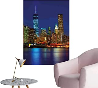 Wall Decorative Sunset Skyline New York Cityscape USA Night Lights Buildings Skyscrapers Pictures Wall Art Painting,16