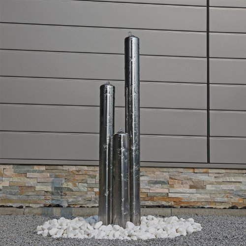 CLGarden Edelstahl Säulenbrunnen ESB1 mit 3 Säulen in der Höhe von 100cm Gartenbrunnen Wasserspiel Brunnen Außenbereich Springbrunnen aus Edelstahl aufwendig gebürstet mit LED Beleuchtung 12V AC