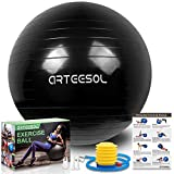 arteesol Ballon Fitness, Ballon d'exercice Balle de Fitness de 45cm/55cm/65cm/75cm/85cm Ballon d'équilibre de stabilité Antidérapant avec Pompe pour la solidité du Noyau (Noir d'encre, 45cm)