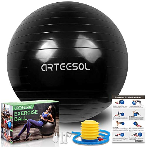 arteesol Gymnastikball, Balance Ball 45cm/55cm/65cm/75cm Yoga Ball mit Pumpe Anti-Burst Fitness Balance Ball für Core Strength (Tinte schwarz, 55cm)