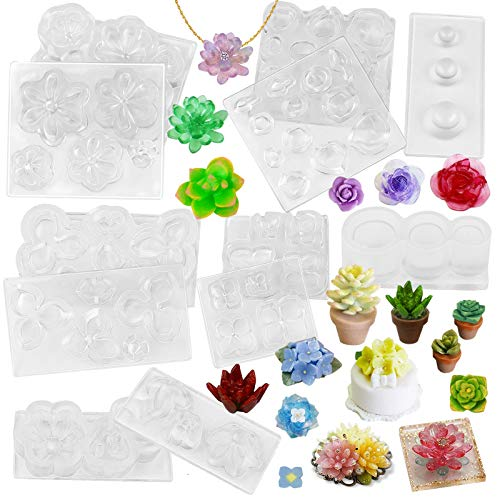 Allforhome 3 Cavities Silicone Mini Molds Resin Flowers Candy Making Clay Mold Miniture Flowers Molding