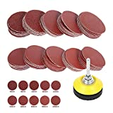 <span class='highlight'><span class='highlight'>ODOMY</span></span> 100 Pcs 2'' Sanding Discs Pad Kit with 1/4'' Shank Backer Plate Including 60/80/120/180/240/320/400/600/800/1000 Grit Polishing Sandpapers for Drill Grinder Rotary Tools