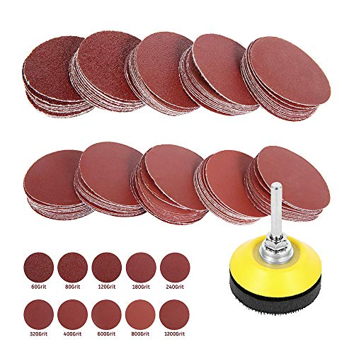 ODOMY 100 Pcs 2'' Sanding Discs Pad Kit with 1/4'' Shank Backer Plate Including 60/80/120/180/240/320/400/600/800/1000 Grit Polishing Sandpapers for Drill Grinder Rotary Tools