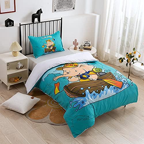Qiuka Niños Funda Nórdica,260x220cm Azul Elefante Barco Surf Juego de Cama Niña y Niños Microfibra Funda de Edredón + Fundas de Almohada Y Cremallera Estampado con 3D