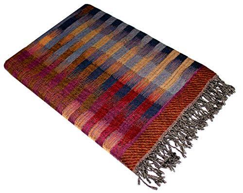 Lorenzo Cana Wolldecke Jacquard gewebt aus feinster Wolle vom Merino - Lamm Wohndecke Decke Wolle Sofadecke Kuscheldecke 140 cm x 200 cm - 9626077