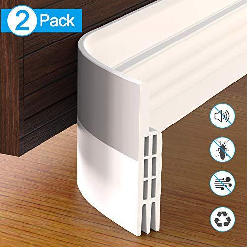 "GroTheory Door Draft Stopper, 2 Pack Under Door Draft Blocker, Soundproof Door Sweep Weather Stripping for Doors, 2"" W x 39"" L, White"