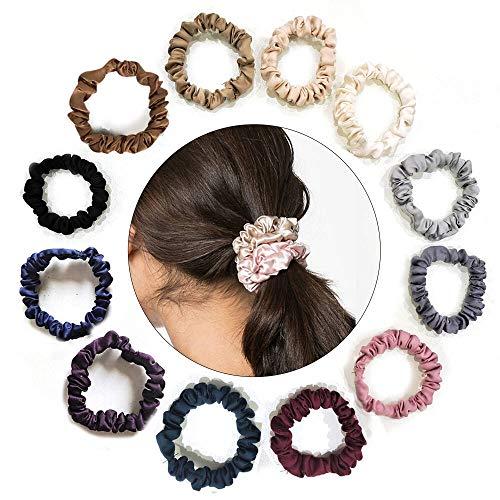 Uni-Fine 12 Stück Satin Haargummi Scrunchies Klein Seide Haargummis Zopfgummi Scrunchie für Frauen Mädchen Pferdeschwanz Haarschmuck…
