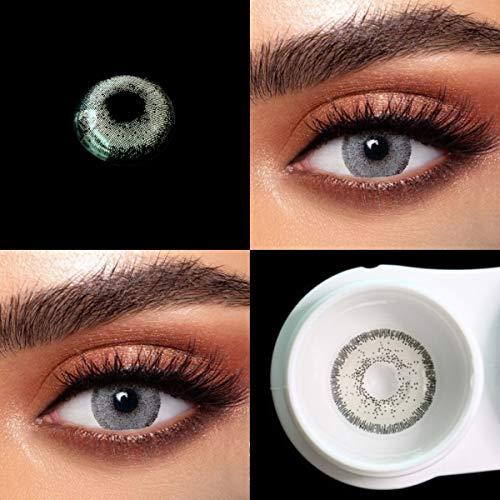 BIO-ESSENCE pack Lentillas hidrogel blandas 1 par Lentes de contacto color gris sin graduación. Duración: 12 meses. Con estuche y 10 ml de solución (Gris Plata)